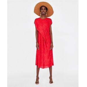 NWT Zara Red Pleated Draped Midi Dress
